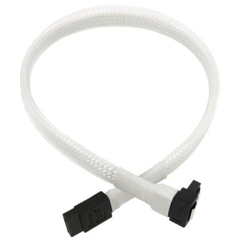 Nanoxia900400030 SATA 3.0 Anschlusskabel, Abgewinkelter Stecker, Sicherheitslasche, 30 cm, Weißer Sleeve