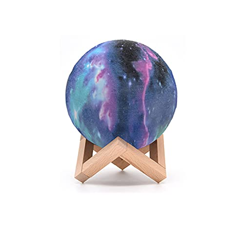 HANMOU Lámpara de iluminación de cielo estrellado, lámpara de mesa de luna, lámpara de proyección de atmósfera potente, luz nocturna LED, multicolor, 18 cm