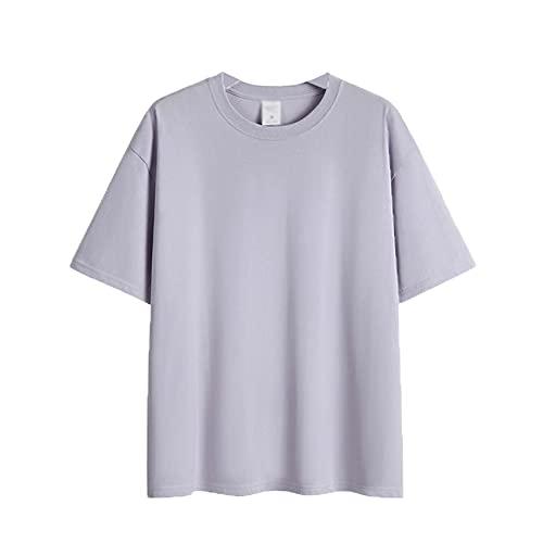 Camiseta Blanca de Manga Corta de algodón Puro para Mujer Camiseta de Manga Corta con Hombros Sueltos y Media Manga para Mujer