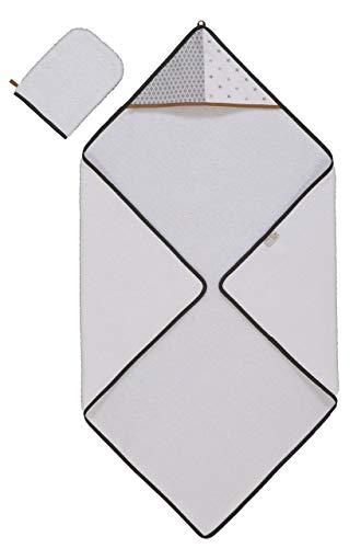 P'tit Basile - Toalla de baño orgánica con capucha y guante de lavado - 80x80 cm - Esponja de algodón orgánico - Colección Unisex Little Sweet Dreams