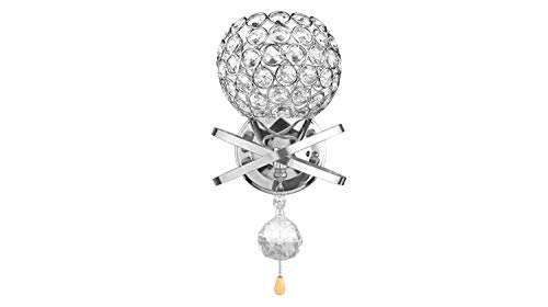 XIAOTIAN kristal wandlamp, woonkamer-wandlamphouder met power trekschakelaar E14 fitting zilver