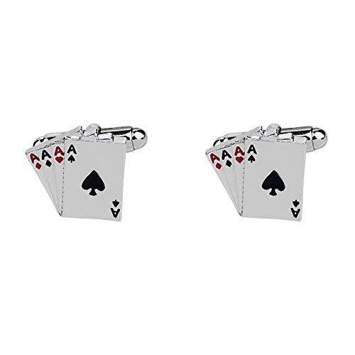 Presenta SataanReaper Rey Cuatro De Una Clase Ases Cartas Poker Acero Inoxidable Gemelos para Los Hombres #SR-143