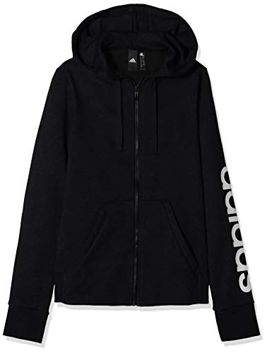 adidas Damen Essentials Linear Full-Zip Hoody, Black/White, L