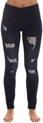 Just Love Denim Wash Ripped Jeggings for Women 6854 DKDEN S product image