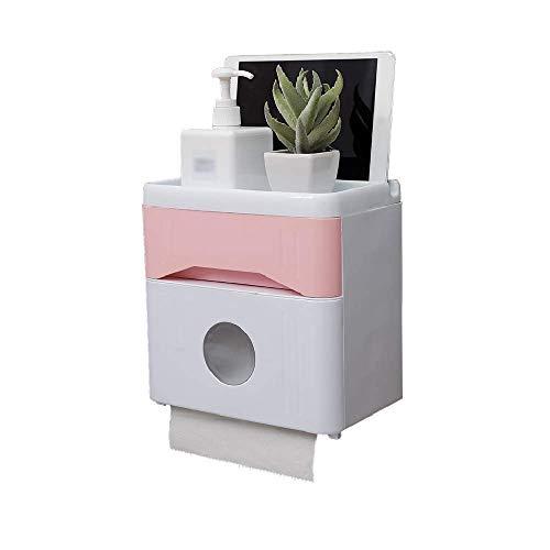 Toallero de Papel a Prueba de Humedad - Toallero de Papel higiénico montado en la Pared Impermeable sin Perforaciones (Color: Rosa) (Color: Negro)