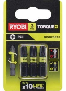 Ryobi Torque+ PZ3 x 3 - Broca para atornillar (25 mm, RISD25PZ3)