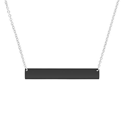 LAOKEAI Collar de barra personalizable con colgante de barra grabada, collar de nombre de barra horizontal personalizado para mujeres y hombres (negro)