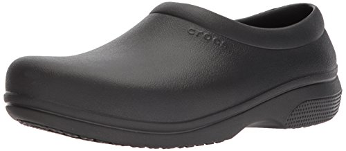 Crocs Men's and Women's On The Clock Clog | Slip Resistant Work Shoes, Black, 11 Women / 9 Men