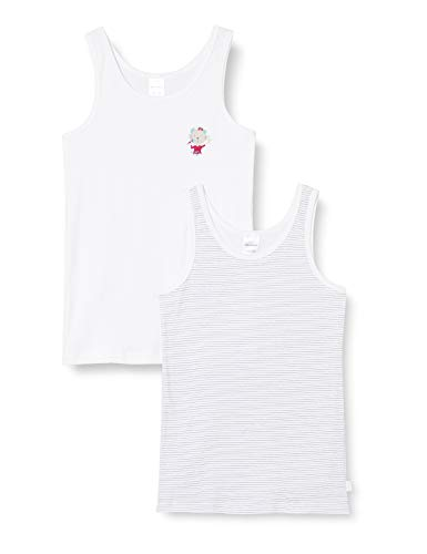 Schiesser Mädchen Multipack 2pack Hemd 0/0 Unterhemd, Mehrfarbig (Weiß/Grau), 140 (2er Pack)