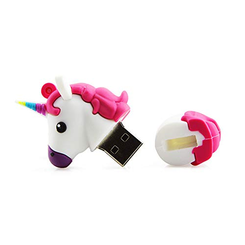 Angela Chiavetta USB 2.0 da 64 GB, Design Creativo a Forma di Unicorno per Cartoni Animati, Regalo di memorizzazione Dati con Disco a Forma di Pollice Carino con Memoria U, Adatto per L'Ufficio,White