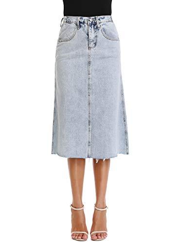 kefirlily Falda Midi Vaquera Mujer Cintura Alta Moda Falda Denim A-Line Casual con Bolsillo Azul L