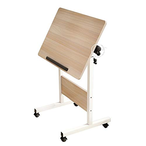 Jlxl Adjustable Bedside Table Tray, Over Bed Table With Lockable Wheels, Portable Computer Couch Sofa Side Table For Studying Reading Coffee Furniture (Size : 80x40cm)