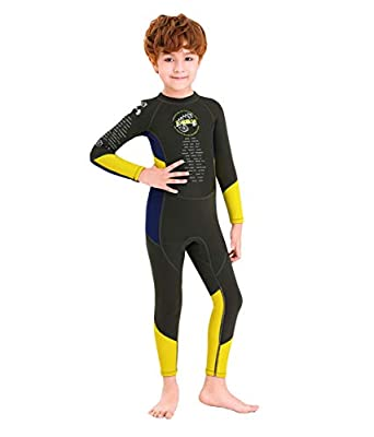 DIVE & SAIL Kids Wetsuit,Thermal Full Wetsuit 2.5mm Neoprene One Piece Long Sleeve Wet Suits Full Swimsuit for Girls Boys and Toddler (Grey Yellow M)