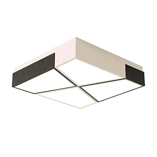 Plafondverlichting heldere vierkante LED 40W kleur smeedijzer acryl lampenkap inbouw zwart en wit modern kinderkamer woonkamer slaapkamer 500x500mm