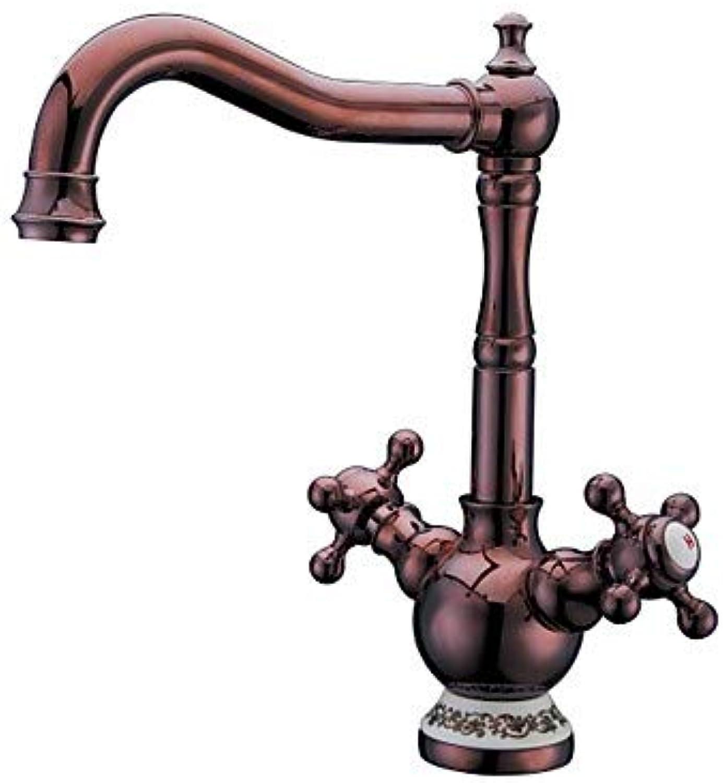 Mangeoo Waschbecken Wasserhahn - Swivel RotGold Mittelstück Ein Loch Zwei Griffe Ein Wasserhahn Messinghahn