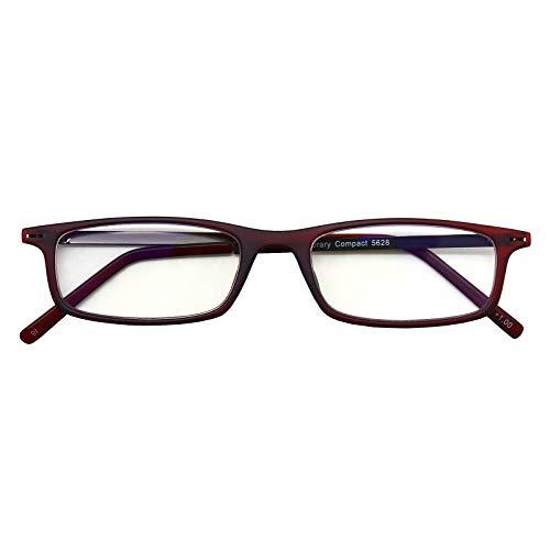 超薄型読書グラス ライブラリーコンパクト LIBRARY COMPACT リーディンググラス 老眼鏡 シニアグラス 薄型 軽量 スリム ブルーライトカット お洒落 おしゃれ ワイン +3.00