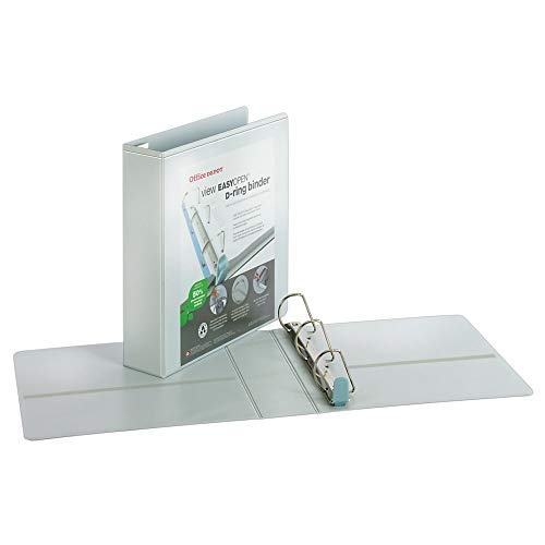Office Depot EasyOpen ClearVue(TM) Locking Slant-D Ring Binder, 2in. Rings, Letter Size, 57% Recycled, White, OD303035