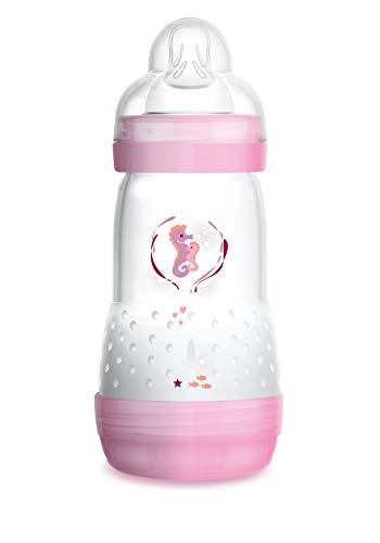 MAM Easy Start Anti-Colic Babyflasche (260 ml) – Babyflasche mit Bodenventil gegen Koliken – Baby Trinkflasche mit Sauger Größe 1, ab der Geburt, Seepferdchen, rosa
