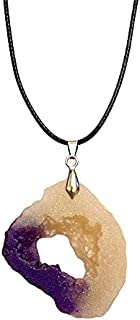 Aga Filigree Geode Shaped Handmade Resin Pendant Necklace - Beige and Purple
