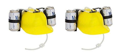 EZ Drinker Beer & Soda Guzzler Helmet - Drinking Hat - 2 Pack - (Yellow)