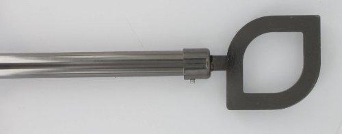 Tringle à rideaux Kit complet métal extensible 120x210 cm graphite et embout Amande 7589120991