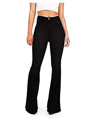 GALMINT Women's Fashion High Waisted Flare Bellbottom Jeans Wide Leg Bootcut Slim Denim Pants Black US 14