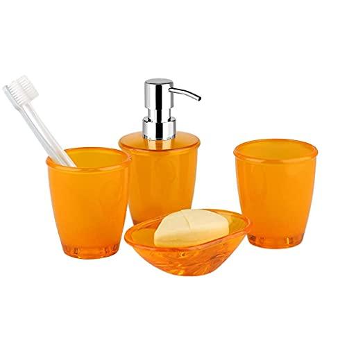 Badrumstillbehör set kreativ matt PS plast fyra delar badrumsset - badrum par badkit innehåller munkopp x 2 tvålbox lotion flaska badrum bänk set (färg: Vit