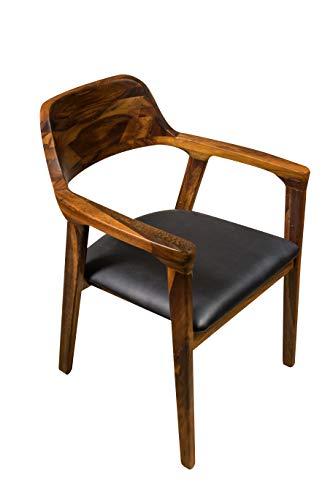 SAM Esszimmerstuhl Angel, Akazienholz wengefarben, Sitz aus schwarzem Kunstleder, Holzstuhl mit Armlehnen, Massivholz-Sessel