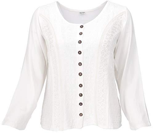 Guru-Shop Kurzes Blusentop Boho Chic, Indische Hippie Langarm Bluse, Damen, Weiß, Synthetisch, Size:40, Blusen & Tunikas Alternative Bekleidung