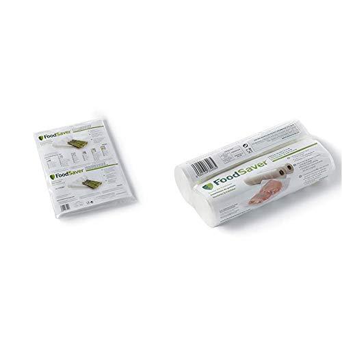 Foodsaver 3201 Bolsa envasado al vacio, Color Blanco, Grande + 2001 FSR2002-I-065, Acero Inoxidable, Color Blanco