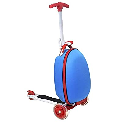 Luggage Scooter, 3 Wheels Kids Scooter with Suitcase and brake for Outdoor Travel, Blue Load 50kg