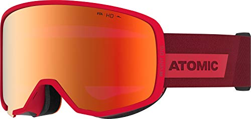 Atomic, All Mountain-Skibrille, Unisex, Für wolkiges bis sonniges Wetter, Large Fit, Kompatibel mit Sehbrille, HD-Technologie, Revent HD OTG, Rot/Rot HD, AN5106078