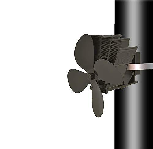 SISI 4 Aspas Ventilador Tubo de Humos Estufa Chimenea con Termómetro Ventilador de Combustión rápida -Tubo de Humos