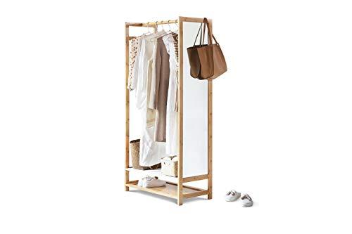 LIFA LIVING Kleiderstange mit Spiegel, Spiegelregal aus MDF und Bambusholz, Kleiderregal, Schuhregal, Accessoires, für Schlafzimmer, Flur, Ankleidezimmer, 80 x 40 x 165 cm