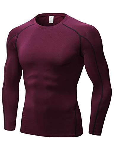 TOPTIE Men's Cool Dry Skin Fit Long Sleeve Compression Base Layer Shirt-Maroon-XL