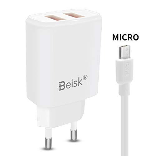 BEISK, Cargador USB Pared + Cable Micro USB, Carga Rápida, con 2 Puertos USB, 3.1A, Enchufe Europa para Dispositivos con Entrada Micro USB, Samsung, HTC, Nokia, Huawei, Sony, Kindle, Etc. Blanco