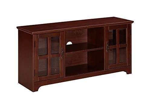 Ravenna Home Peterson Modern Glass Cabinet Storage TV Media Entertainment Stand, 46'W, White