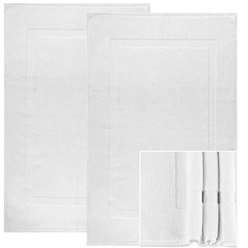 Alurri Bath Mat Set - 2 Pack - White 20'x30' - Shower/Bathtub Step Out Reversible Towel Like Mat [NOT A Rug]| Soft Cotton Machine Washable & Super Absorbent Hotel Spa Bathroom Floor Towel Mats