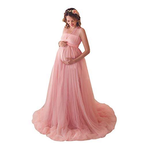 FYMNSI Umstandskleid Schwangere Multiway Tüllkleid Elegante Fotografie Stützen Mutterschaft Langes Abendkleid Damen Hochzeitskleid Brautkleid...