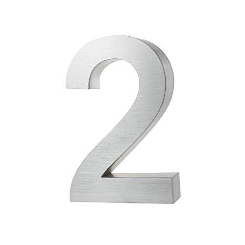 KOBERT GOODS Hochwertig Modern Gebürstet Edelstahl V2A Hausnummer 2 klassisch 3D-Effekt Design Wetterfest und Rostfrei inklusive Montage-Material Höhe 20cm Tiefe 3cm Groß für Haus und Gartenzaun