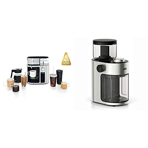 Braun MultiServe Machine 7 Programmable Brew Sizes / 3 Strengths + Iced Coffee, Glass Carafe (10-Cup), Stainless Steel, KF9070SI & KG7070 Burr Grinder, 7.4 x 5.2 x 10.6 Inches, Stainless Steel