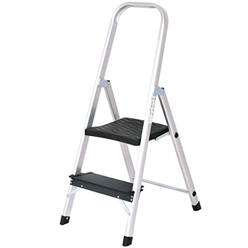 Giantex Aluminum 2 Step Ladder Folding Stepladder with Non-Slip Pedal 330lbs Capacity Work Platform Portable Step Stool
