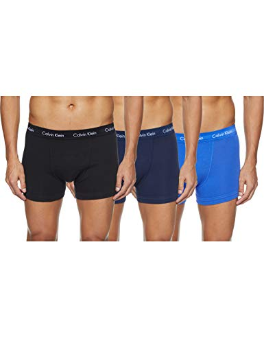 Calvin Klein Herren - 3er-Pack mittlere Taille Hüft-Shorts - Cotton Stretch, Mehrfarbig (Black/Blueshadow/Cobaltwater Dtm Wb 4Ku), M