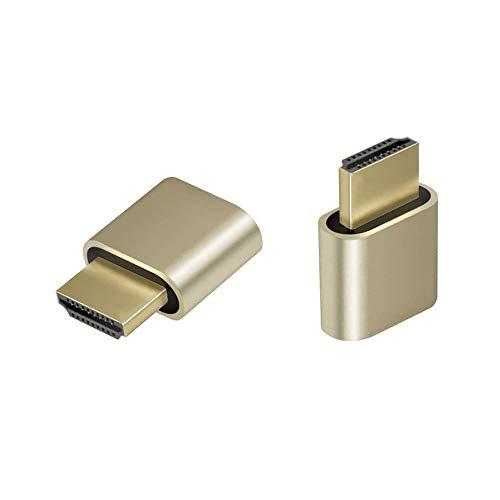 2-Pack Adwits 4K 2K 1080P 30Hz bis 60Hz Unterstützung HDMI Display Emulator DDC Edid Headless Ghost Monitor Adapter Dummy Stecker, Höchste 4096x2160 @ 60Hz - Gold Farbe