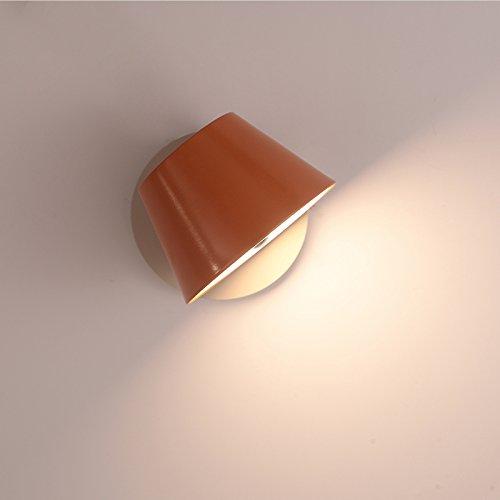 LED Mur Lumière Lecture Réglable Tête De Lit Chambre Salon Salle De Bain Étude Bureau Décoration Fer Moderne Mur Lampe Chaude Blanc 9W,Orange