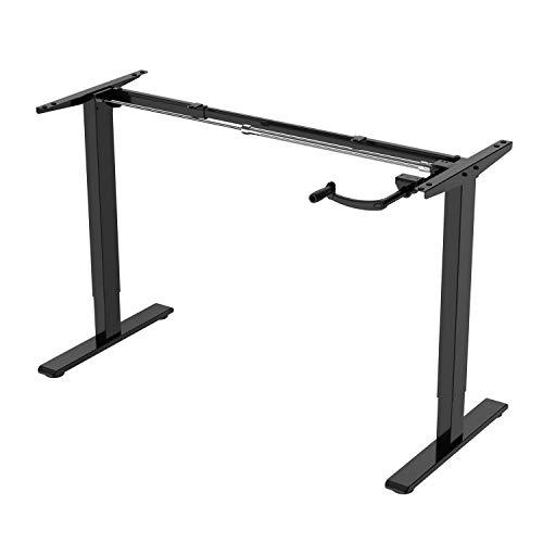 ALLDREI Höhenverstellbarer Schreibtisch Kurbelverstellbares Tischgestell, bis zu 121 cm, 70 kg,2-stufiger Sitzpultrahmen (Schwarz)