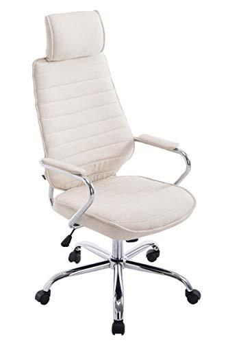CLP Bürostuhl RAKO mit hochwertiger Polsterung und Stoffbezug | Höhenverstellbarer Chefsessel mit Armlehnen, Farbe:Creme