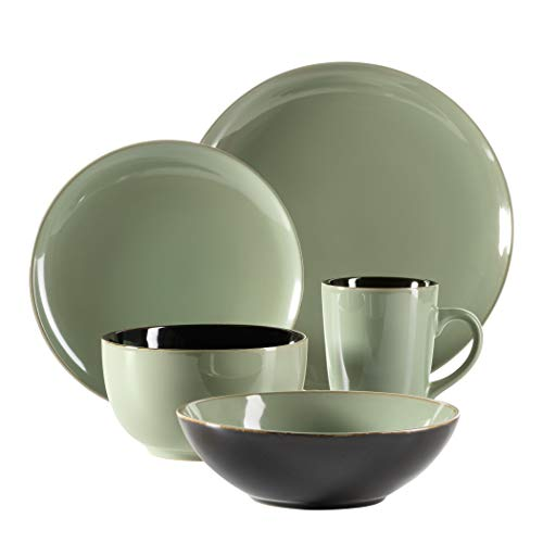 Mäser Scuro - Vajilla de cerámica para 1 persona (5 piezas), diseño moderno y mediterráneo