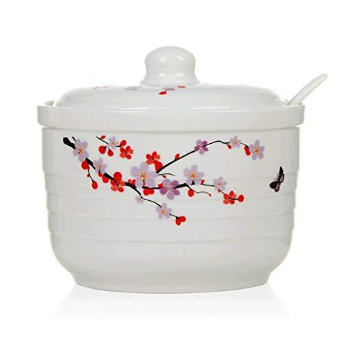 ZYING Azucarero, Azucarero de cerámica con cucharas de azúcar for el hogar - Diseño Moderno,