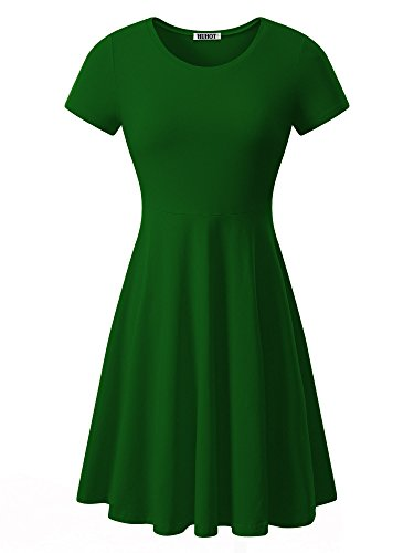 HUHOT Women Short Sleeve Round Neck Summer Casual Flared Midi Dress (Large, Green)